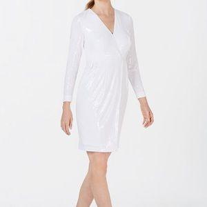 White sequins dress from Calvin Klein